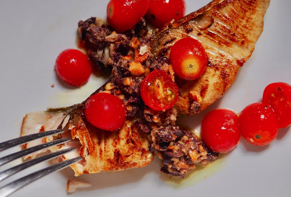 Amberjack Steaks with Almond Tapenade
