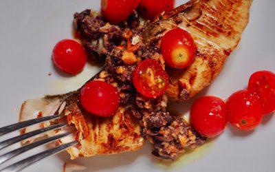 Amberjack Steaks with Almond Tapenade