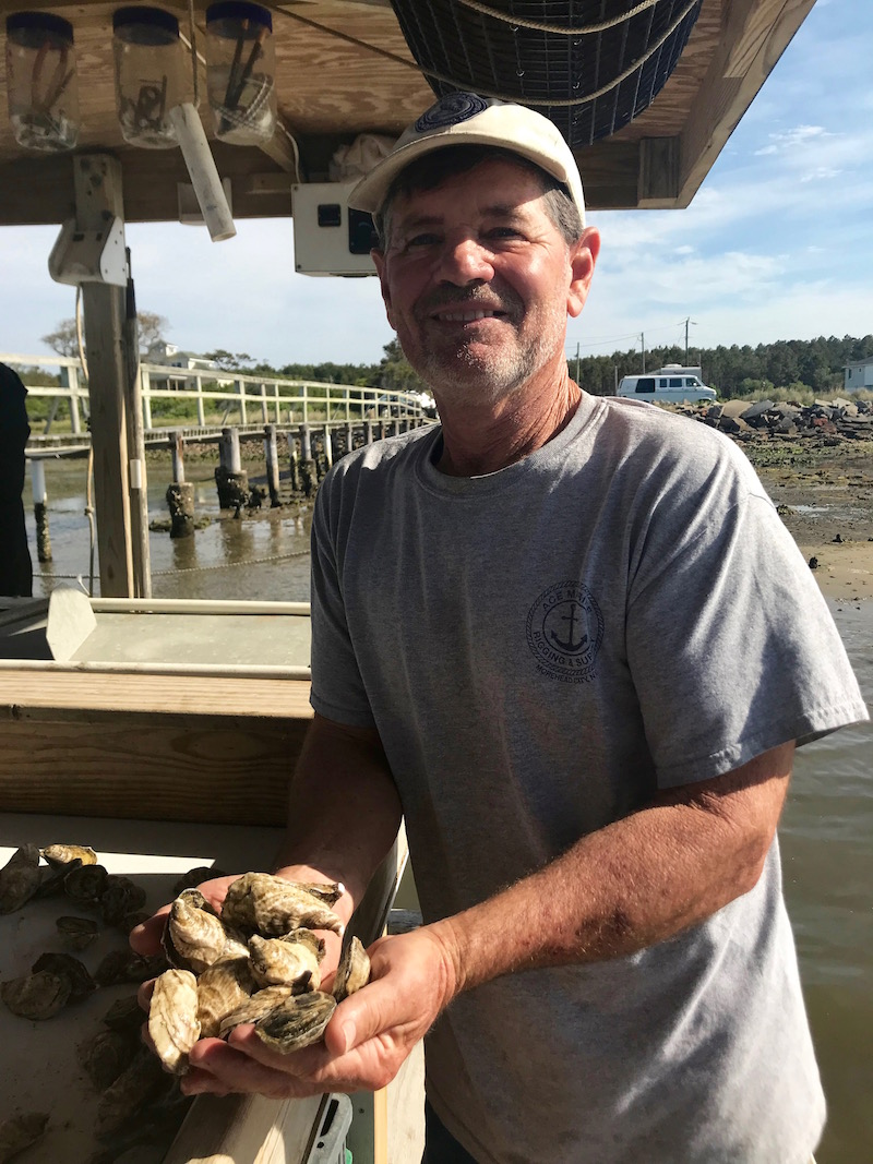 Michael Starks with Bell's Reef Oysters