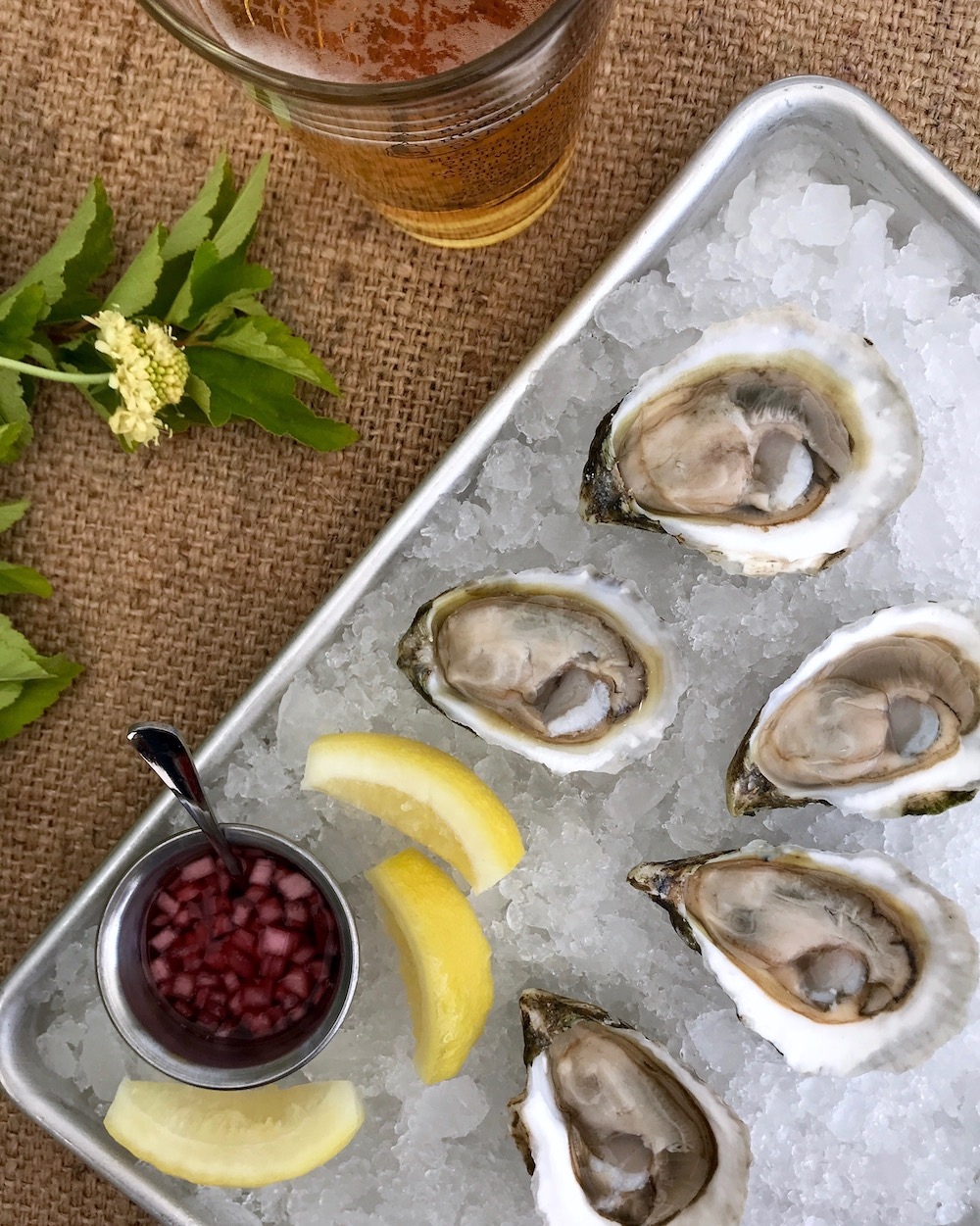 A selection of North Carolina oysters served on the half shell with house mignonette.