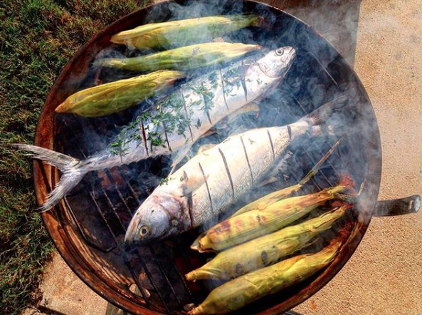 NC Bluefish on the grill at Locals Seafood