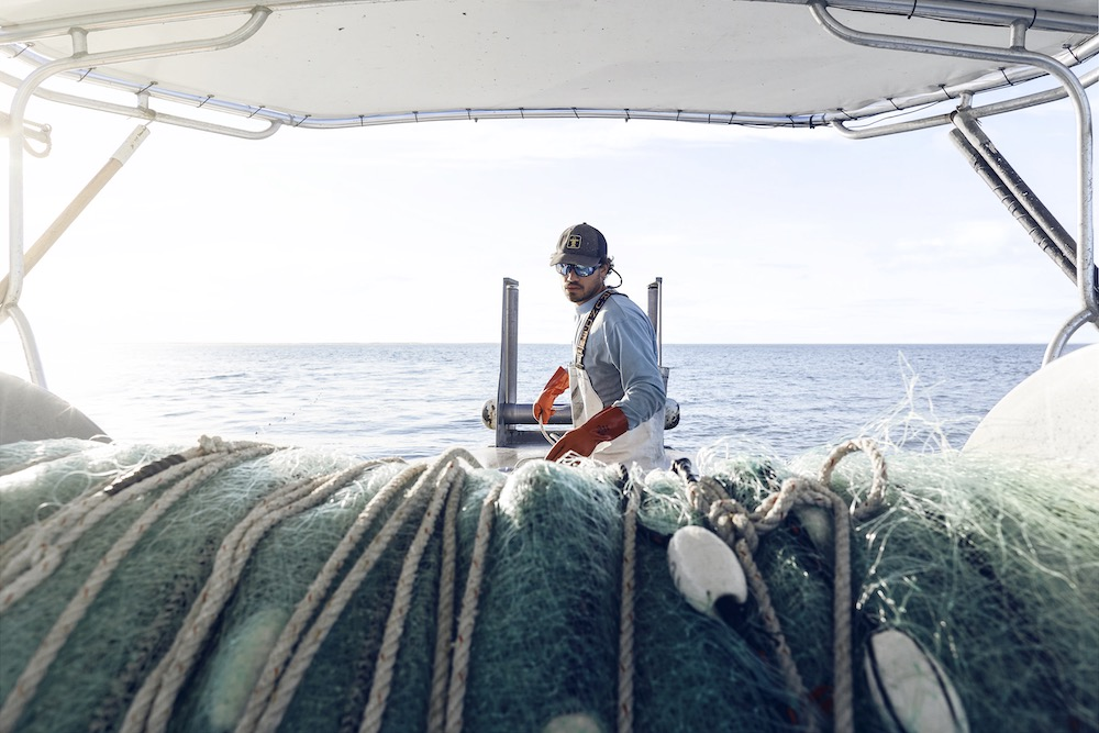 Rhomsey pulls net off Charlie Locke's boat